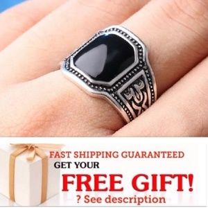 Other - FASHION MEN RING SILVER RING PUNK silver black